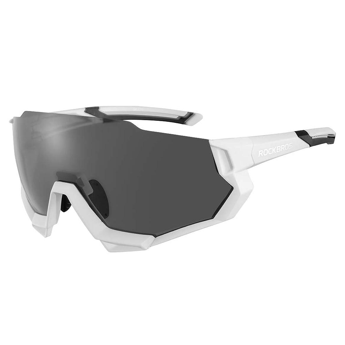 スポンサー腐った議題ROCKBROS(ロックブロス)スポーツサングラス 偏光レンズ 調光サングラス 超軽量 紫外線カット ゴルフ 自転車 5枚専用交換レンズ 収納ポーチ付き ユニセックス