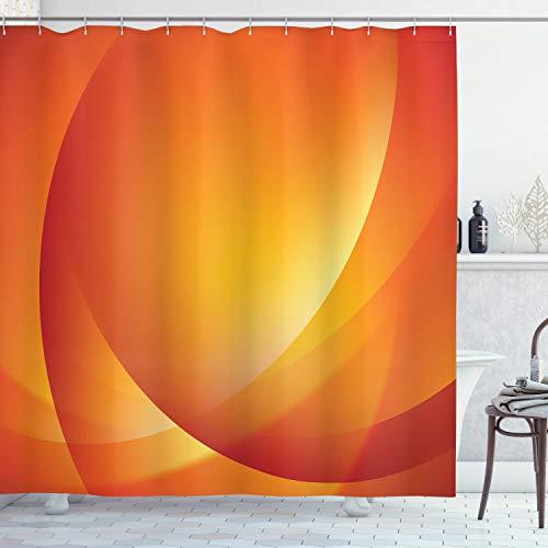 ABAKUHAUS Orange Duschvorhang, Bunte Twist Linien, Hochwertig mit 12 Haken Set Leicht zu pflegen Farbfest Wasser Bakterie Resistent, 175 x 200 cm, Dunkel Orange Gelb