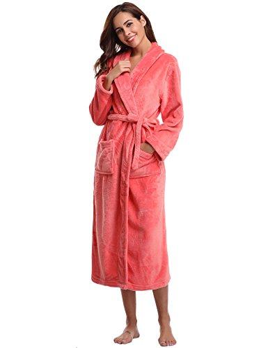 Aibrou Bademantel Damen Winter Morgenmantel super weiches flauschiges coral fleece warmer Schlafanzug Nachtwasche aus Flanell Saunamantel Frottee Kleidung, Rosa, L - EU(44-46)