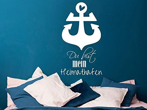 GRAZDesign Heimathafen Deko mit Anker - Geschenk Hochzeit für Partner - Rostock - Ostfriesland / 70x40cm / 054 türkis