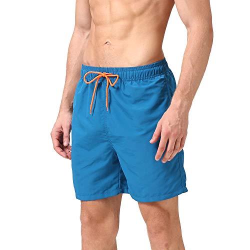 anqier Badeshorts für Männer Badehose für Herren Jungen Schnelltrocknend Schwimmhose Strand Shorts,Blau,XXL(EU)-MarkeGröße:XXXL-Taille 106-113cm