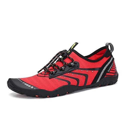 Mens Womens Barefoot Water Shoes Swim Aqua Sports Red 13.5 M US Women / 12 M US Men (46)