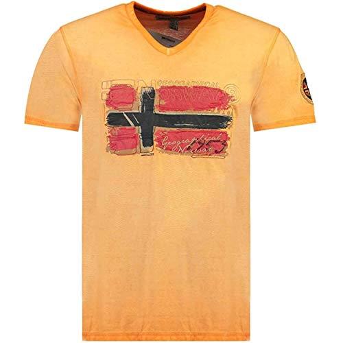 Geographical Norway JOASIS MEN - Camiseta Casual Algodón Premium - Camisetas Diseño Gráfico Impresion Designer - Manga Corta - Cuello V Fit Regular Cuello V