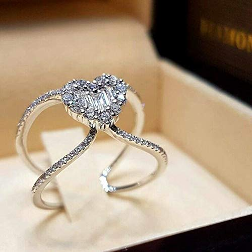 The Sun Jewelry White Topaz Zircon Silver Heart Womens Engagement Rings Jewelry Size 5-10 NJ297 (6)