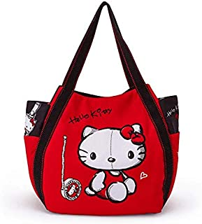 89c4720d3 Sanrio Hello Kitty Black and Red Canvas Tote Bag Shoulder Messenger for  Children Kids 30x49x21.