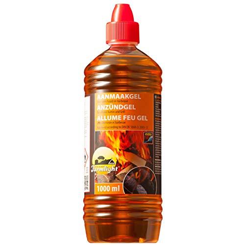 Farmlight BBQ 1 L Bio accendifuoco in Gel x Barbecue, camini e bracieri 1 Bottiglia da 1 litro, Orange