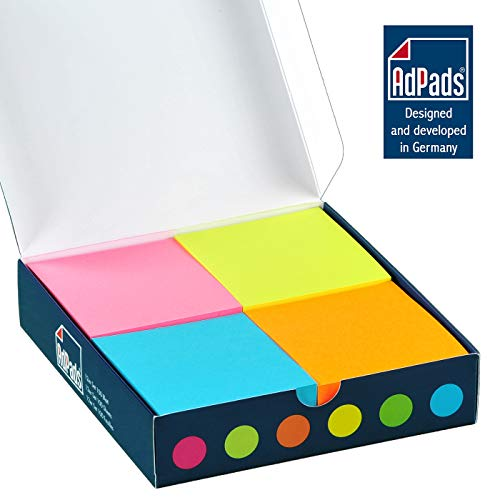 AdPads® selbstklebende Haftnotizzettel | 75 x 70mm, 12 Blöcke à 100 Blatt, Set Bunt Neonfarbe | Große Sticky Notes Box