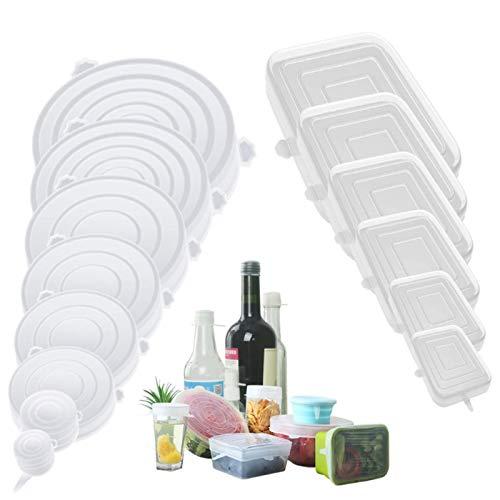 Coperchi elasticizzati in silicone riutilizzabili, 14 pezzi, senza BPA (8 pezzi rotondi e 6 quadrati).