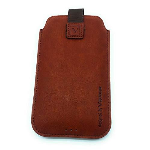 Premium Handy Tasche Gürteltasche Etui Schutz Hülle braun mit Klettverschluss für Samsung Galaxy S20 FE