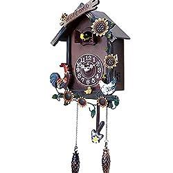 DongSheng Cuckoo Wall Clock, Natural Bird Voices Or Cuckoo Call, Design Clock Pendulum, Bird House, Wall Art Living Room Kitchen Office Home Decoration