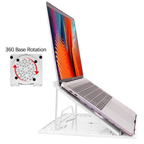 AKT Laptopständer Handy Ständer Set Heben Faltbar Kühlbasis mit 360 Rotationsfunktion,White