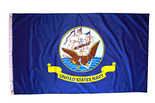 3x5 US Navy Flag with Two Brass Grommets, Double Stitched Edges, and 100% Polyester Fabric , Flag of the US Navy , Navy Flag 3x5 , USN Flag 3x5 , Navy Flags , Navy Flags 3x5 Outdoor , 3x5 Navy Flag
