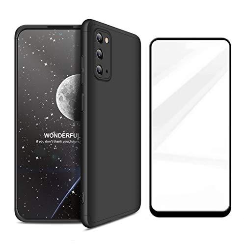 AChris Samsung Galaxy S20 (5G) Custodia con Vetro Temperato Cover Case con Plastica Durevole 3 in 1 Cover Case Ultra Sottile Antishock Antiurto Anti-Graffio- Nero