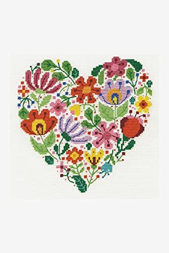 DMC–Kit de Punto de Cruz, diseño de Ramo de Corazones y Flores de Amor, 100% algodón, Varios, 4Unidades