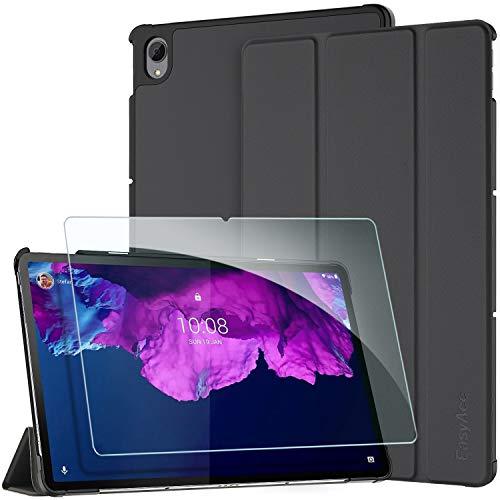 EasyAcc Funda Compatible con Lenovo Tab P11 TB-J606 con Vidrio Templado Protector de Pantalla, Ultradelgado con Función de Soporte de Funda Delgada Auto Sleep/Wake Up, Negro