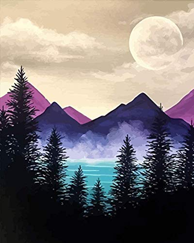 Mountain Diamond Painting Number Kits for Adults Kids Beginner, Full Drill Crystal Rhinestone Diamond Embroidery Paintings Pictures Arts Craft Perfect for Home Wall Decor Gift (11.8 X 15.7 inch)