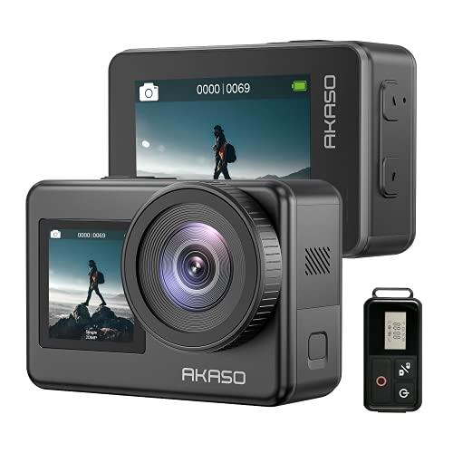 AKASO Action Cam 4K 20MP WiFi Action Kamera IPX8 Wasserdicht Unterwasserkamera EIS 2.0 mit Touchscreen 4X Zoom, Sprachsteuerung, Fernbedienung und 2x1350mAh Akkus Zubehör Kit.