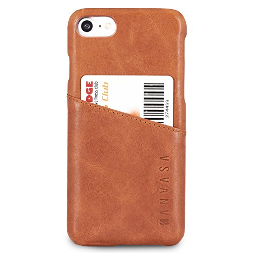 KANVASA Funda iPhone 8 / Funda iPhone 7 Piel Marrón Case Cover Carcasa Tapa Trasera Cards en Piel Auténtica Premium con Cartera para Apple iPhone 8 & 7 (4.7') Original - con Bolsillo Tarjetero