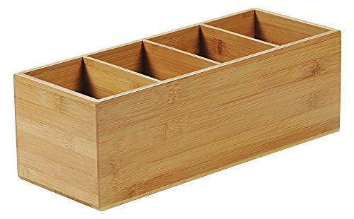 KESPER 70850 Besteckkasten 4-fach aus FSC-zertifiziertem Bambus/Besteckhalter/Box