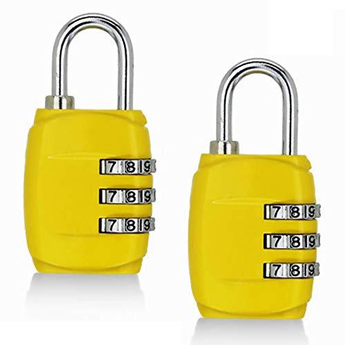 Cerradura de contraseña, 2 candados de combinación de 3 dígitos, para equipaje, mochila, maleta, cajón, taquillas de gimnasio (amarillo)