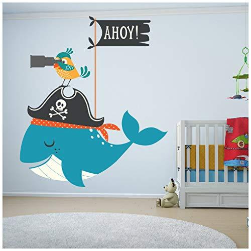 Vinilo decorativo con diseño de ballena pirata.