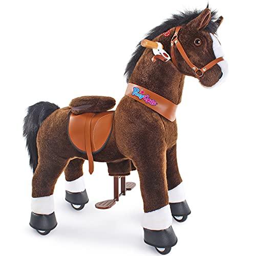 PonyCycle Oficial Clásico Modelo U 2021 Montar a caballo Animal que camina Caballo marrón oscuro con ruedas con freno y sonido para edades 4-9 pequeño Ux421
