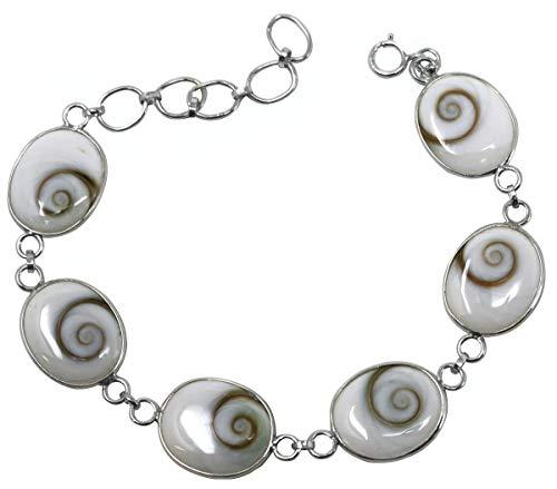 Shiva Muschel Armband mit 925er Silber, 20 cm, Shivas Auge Edelstein Armband Operculum