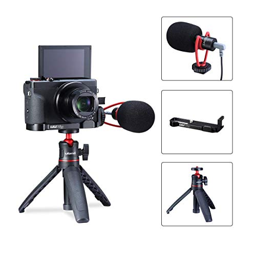 G7X Mark III Video Vlog Starter Kit for Canon G7X Mark III, Microphone + Camera Bracket + Tripod, Video Shooting Microphone Mount Plate Setup Professional & Portable
