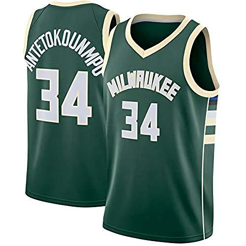 JINHAO Herren Basketball Trikot NBA Milwaukee Bucks #34 Giannis Antetokounmpo Mesh Basketball Swingman Trikot (Grün, M)