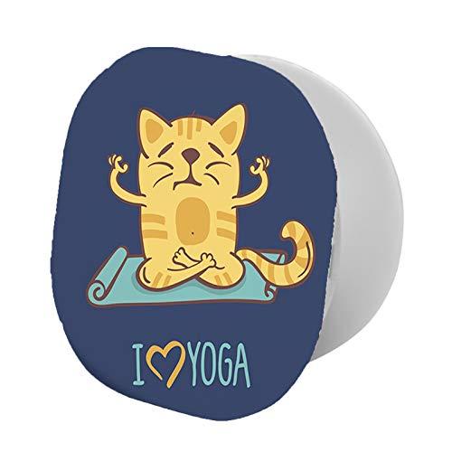 Soporte para teléfono, diseño de gato con dibujos animados y texto en inglés 'I Love Yoga', soporte universal para todos los teléfonos