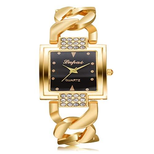 Hanks' shop Orologio Quadrante Quadrante Quadrato Diamante Placcato Hollow Lega Cinturino Orologio al Quarzo Per Donne Madam (Oro Cintura Bianco Superficie) (Colore: Oro Cintura Nero Superficie)