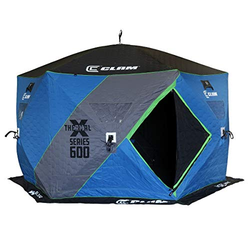 Clam X600 X Series Thermal 5-7 Person 6 Sided Outdoor Portable Pop Up Winter Ice Fishing Shelter Tent