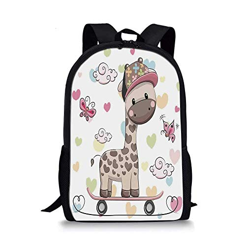 HOJJP Rucksack Kids Stylish School Bag,Cute Cool Giraffe Wearing Cap on a Skate Board with Butterflies Fun Colorful Hearts Print Decorative for Boys,11''L x 5''W x 17''H