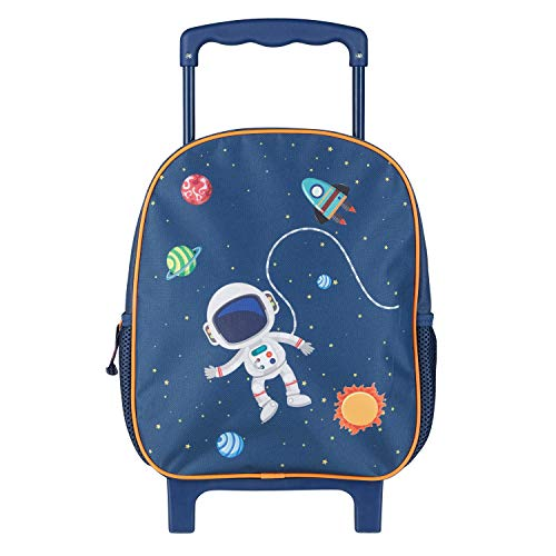 Idena Mochila con ruedas con purpurina, para niños, color azul oscuro, con diseño de astronauta y espacial, como maleta de mano, maleta escolar y mochila infantil, aprox. 31 x 27 x 10 cm