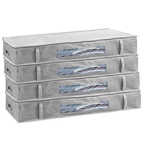 2friends Unterbettkommode 4er Set - je ca. 100 l Fassungsvolumen; 100x45x15 cm, Aufbewahrungstasche für Decken und Kissen - mit Sichtfenster, grau