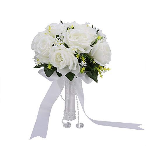YUMILI Bouquet da Sposa-Bouquet da Sposa Bouquet da Sposa Bianco con Nastro di Perle per Matrimonio/Servizio Fotografico
