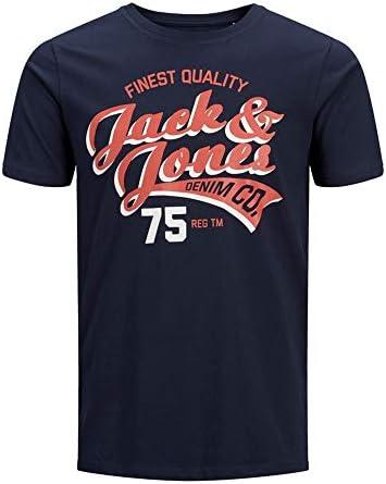 JACK & JONES Camiseta Manga Corta Hombre Estampada Azul Marino