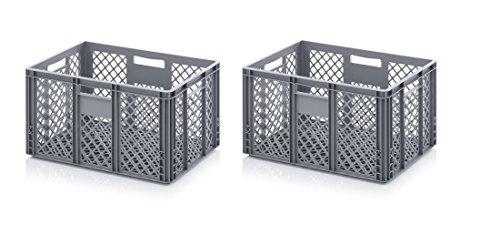 2x Bäckerkiste Cateringbox 60 x 40 x 32 durchbrochen inkl. gratis Zollstock 2er Set