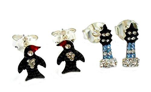 Unbekannt Ohrstecker Leuchtturm Pinguin Mix sehr zierlich Glassteine rot schwarz blau schwarz + Silberbox