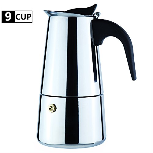 WeHome 9-Cup Coffee Maker Percolator Stovetop Espresso Maker Moka Pot Stainless Steel Italian Coffee Maker with Permanent Filter and Heat Resistant Handle Best Gift for Coffee Lovers Barista