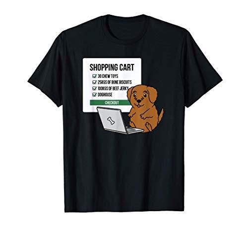 ショッピングカートゴールデンドゥードル犬 Tシャツ