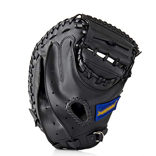 DONG Béisbol Catcher Glove Softbol Equipo Práctica Deportes Al Aire Libre PVC Tamaño 12.5 Mano Izquierda para Entrenamiento De Adultos,Black