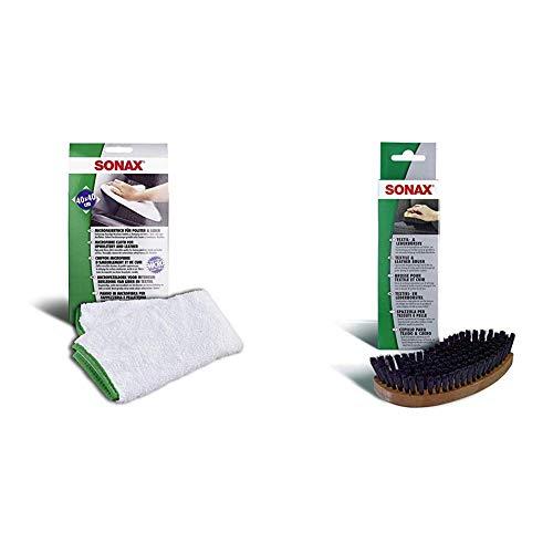 SONAX Microfasertuch für Polster, Textil und Leder zur fusselfreien Fahrzeuginnenreinigung (40x40 cm), bei 60°C waschbar | Art-Nr. 04168000 + 416741 Textil-& Lederbürste