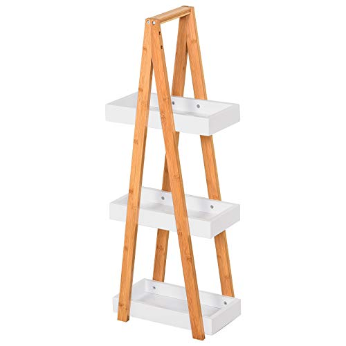 kleankin Badregal, 3 Ebenen Treppenregal, Leiterregal, Badezimmer, Bambus, Weiß, 30 x 18 x 81 cm