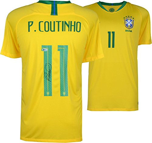 Philippe Coutinho Brazil Autographed Nike Yellow Home Jersey - Autographed Soccer Jerseys