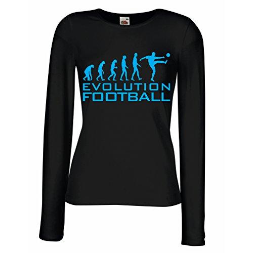 lepni.me Camisetas de Manga Larga para Mujer La evolución del fútbol - Camiseta de fanático del Equipo de fútbol de la Copa Mundial (Large Negro Azul)