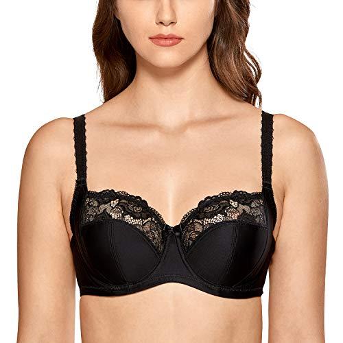 DELIMIRA Women's Plus Size Underwire Non Padded Full Coverage Lace Balconette Bra Black 38H