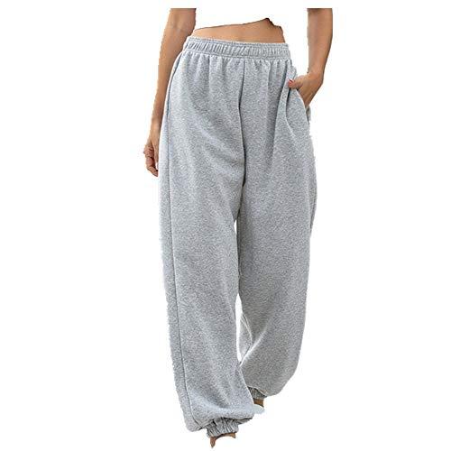Mujeres Casual Deporte Sólido Running Jogger Pantalones Mujer Bolsillos Chándal Elástico Gris gris L