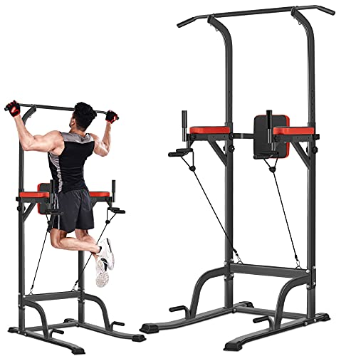 Bronze Times Power Tower Pull Up Workout Dip Station Adjustable Dip Stands Multi-Function Home Gym Strength Training Fitness Equipment Newer Version, 400LBS