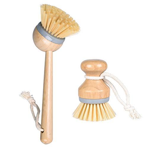 Bamboo Dish Brush Set, Kitchen Palm Scrub Brush with Fiber Bristle (2589-Z2)
